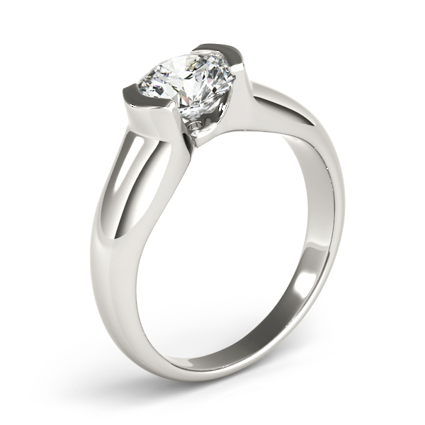 Diamond Engagement Rings - 14K White Gold Round Solitaire Engagement Ring - image #3