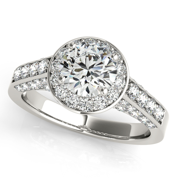 Rings - 14K White Gold Round Halo Engagement Ring