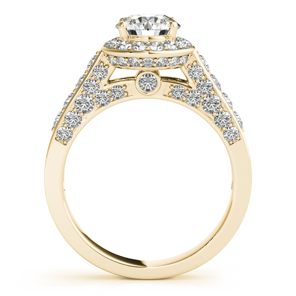 Rings - 10K Yellow Gold Round Halo Engagement Ring - image #2