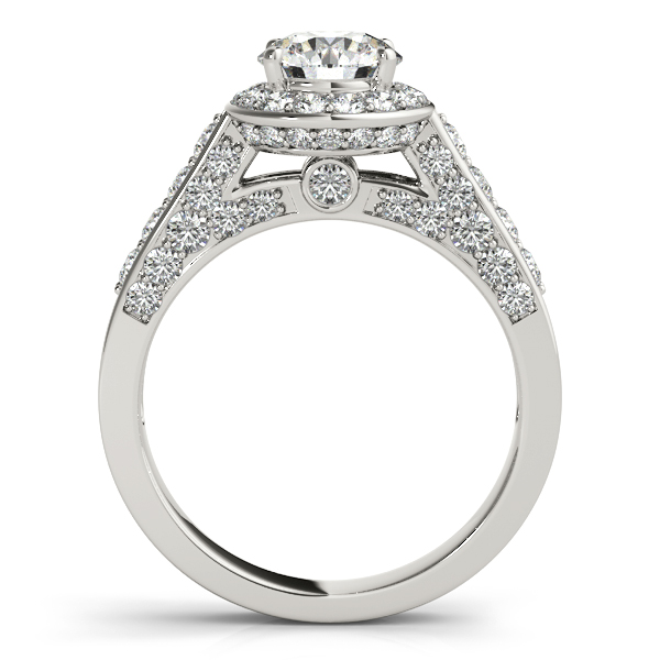 Rings - 14K White Gold Round Halo Engagement Ring - image #2