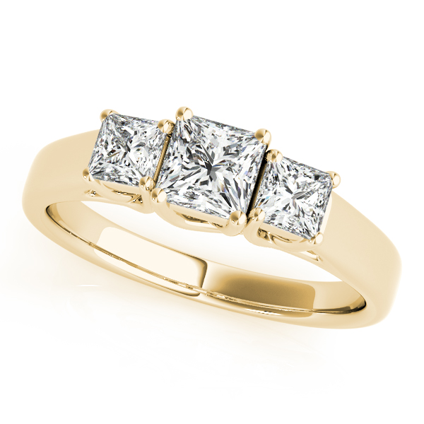 Rings - 14K Yellow Gold Princess Three-Stone Engagement Ring