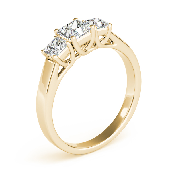 Rings - 14K Yellow Gold Princess Three-Stone Engagement Ring - image 3
