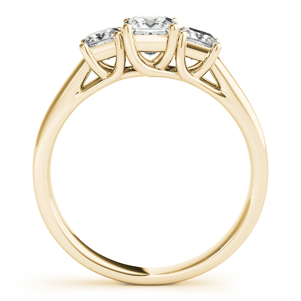 Rings - 14K Yellow Gold Princess Three-Stone Engagement Ring - image 2