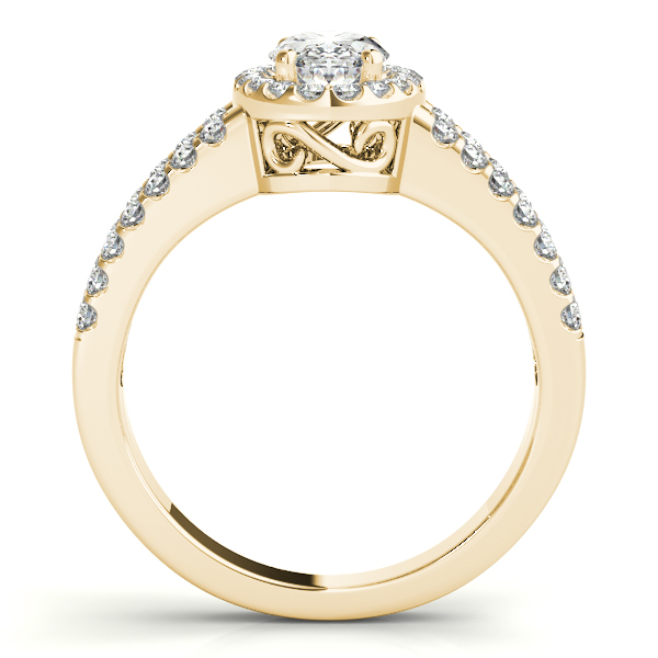 Rings - 18K Yellow Gold Oval Halo Engagement Ring - image #2
