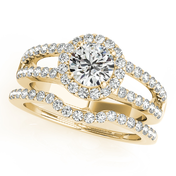Rings - 10K Yellow Gold Round Halo Engagement Ring - image 3