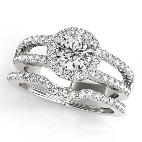 Rings - 18K White Gold Round Halo Engagement Ring - image #3