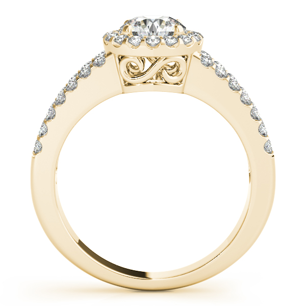 Rings - 10K Yellow Gold Round Halo Engagement Ring - image 2