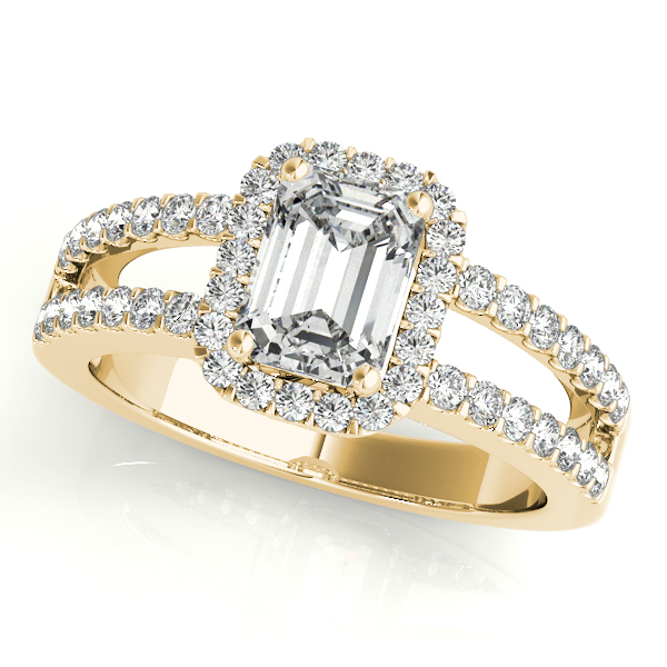 Diamond Engagement Rings - 18K Yellow Gold Emerald Halo Engagement Ring