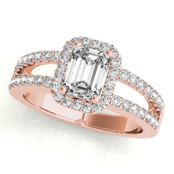 Diamond Engagement Rings - 18K Rose Gold Emerald Halo Engagement Ring
