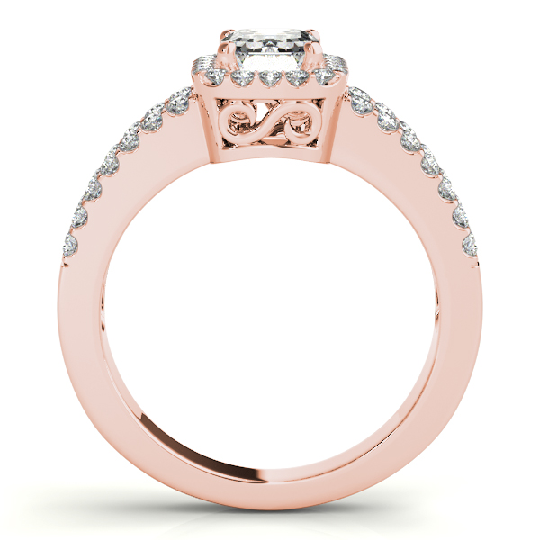 Rings - 10K Rose Gold Emerald Halo Engagement Ring - image 2