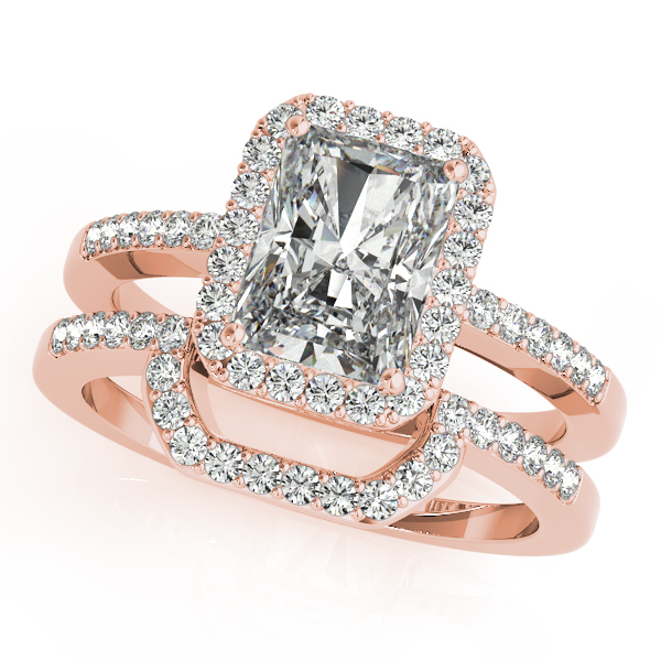 Engagement Rings - 18K Rose Gold Emerald Halo Engagement Ring - image 3