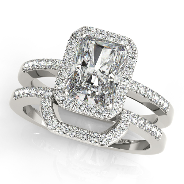 Diamond Engagement Rings - Platinum Emerald Halo Engagement Ring - image #3