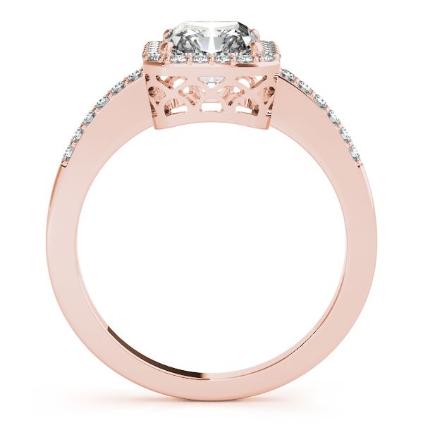 Engagement Rings - 18K Rose Gold Emerald Halo Engagement Ring - image 2
