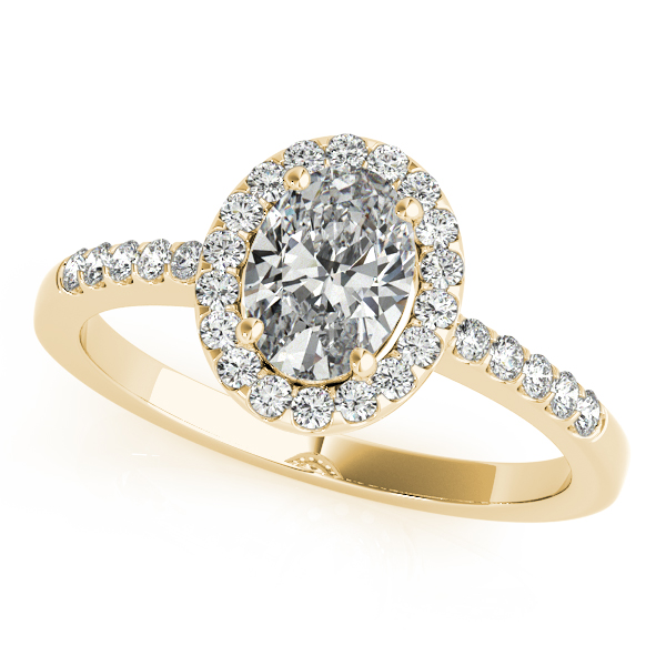 Engagement Rings - 14K Yellow Gold Oval Halo Engagement Ring