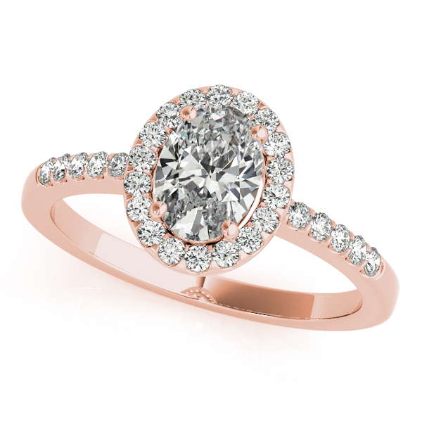 Diamond Engagement Rings - 18K Rose Gold Oval Halo Engagement Ring