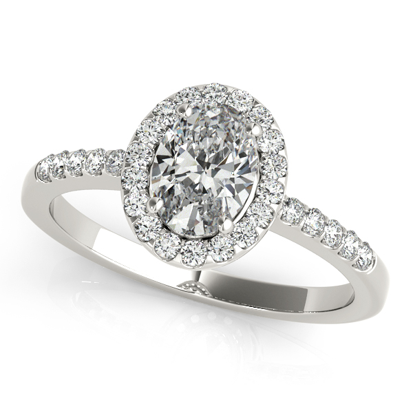 Diamond Engagement Rings - 14K White Gold Oval Halo Engagement Ring