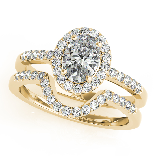 Diamond Engagement Rings - 18K Yellow Gold Oval Halo Engagement Ring - image #3