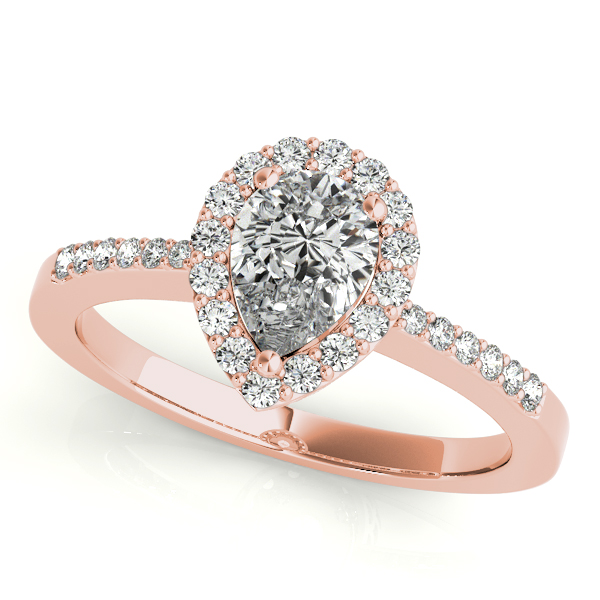 Diamond Engagement Rings - 14K Rose Gold Pear Halo Engagement Ring