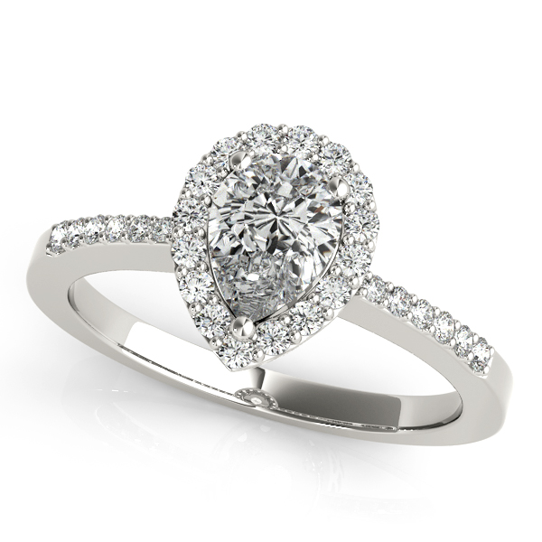 Diamond Engagement Rings - 18K White Gold Pear Halo Engagement Ring