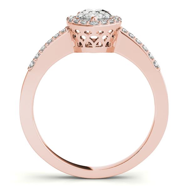 Diamond Engagement Rings - 14K Rose Gold Pear Halo Engagement Ring - image 2