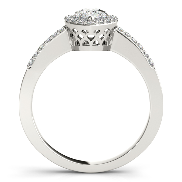 Rings - 14K White Gold Pear Halo Engagement Ring - image #2
