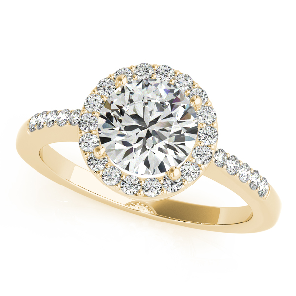 Rings - 18K Yellow Gold Round Halo Engagement Ring