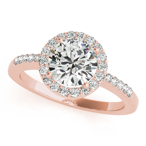 Diamond Engagement Rings - 10K Rose Gold Round Halo Engagement Ring