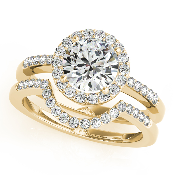 Diamond Engagement Rings - 18K Yellow Gold Round Halo Engagement Ring - image #3