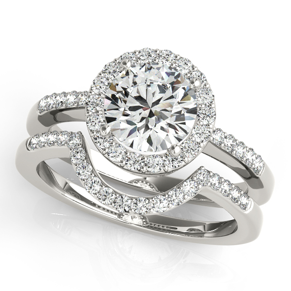 Diamond Engagement Rings - 18K White Gold Round Halo Engagement Ring - image #3