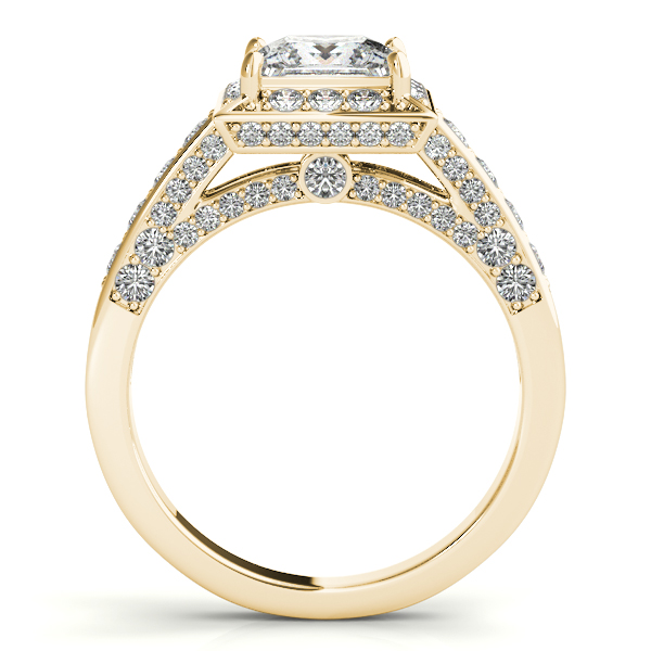 Diamond Engagement Rings - 10K Yellow Gold Halo Engagement Ring - image #2