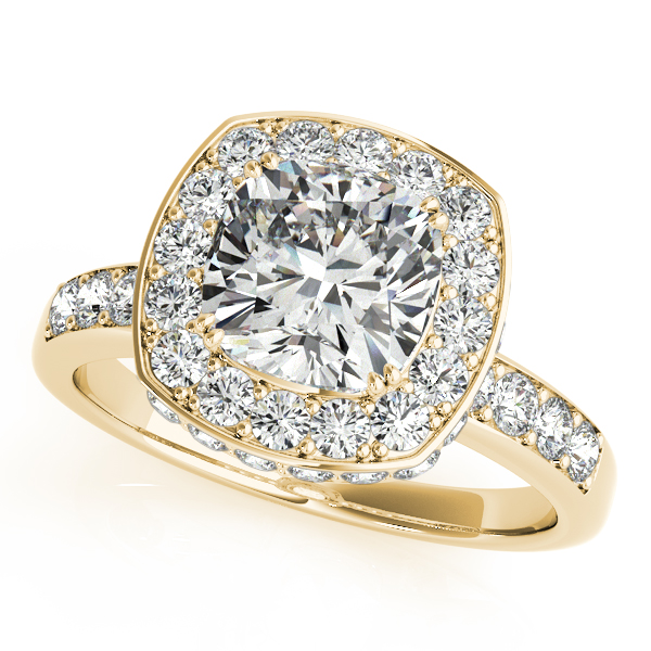 Rings - 18K Yellow Gold Halo Engagement Ring