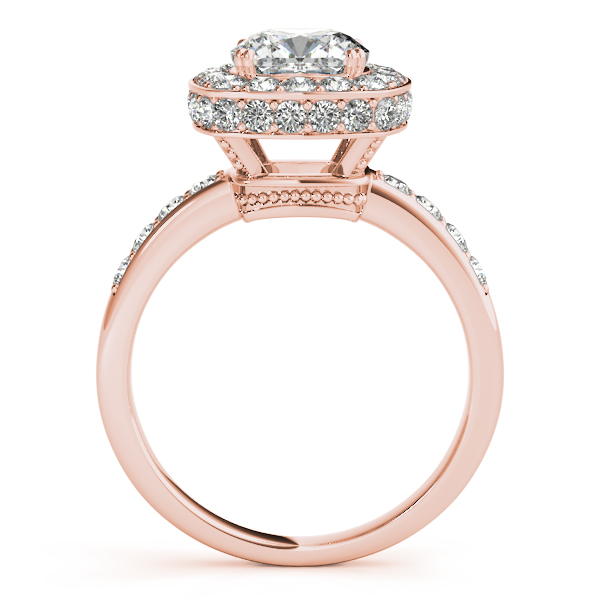 Engagement Rings - 18K Rose Gold Halo Engagement Ring - image 2