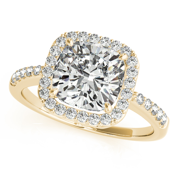 Diamond Engagement Rings - 10K Yellow Gold Halo Engagement Ring