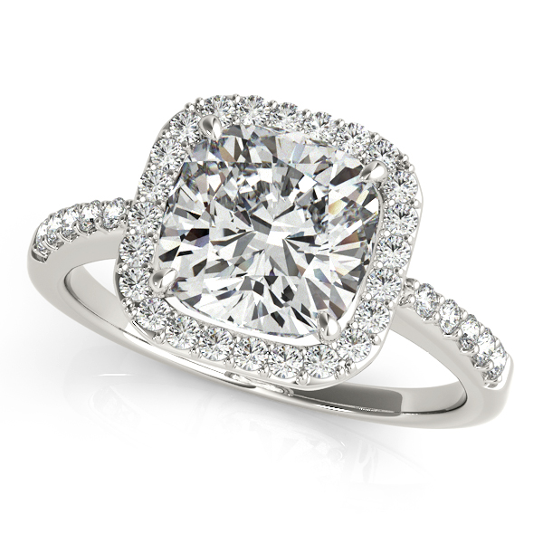 Diamond Engagement Rings - 18K White Gold Halo Engagement Ring