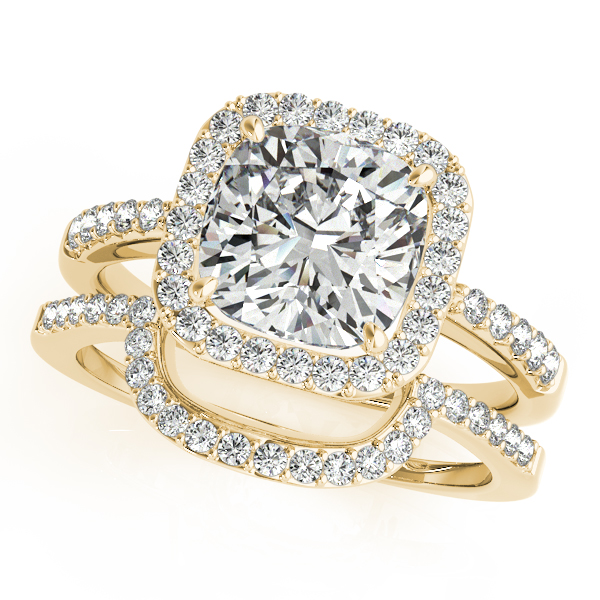 Diamond Engagement Rings - 10K Yellow Gold Halo Engagement Ring - image #3
