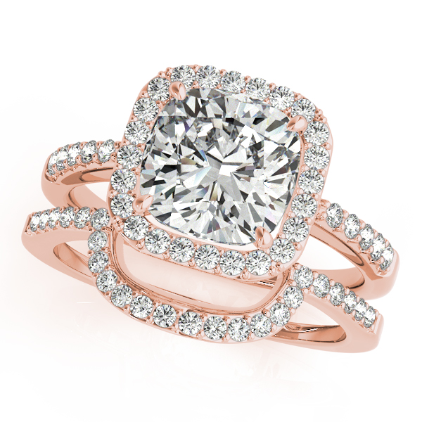 Diamond Engagement Rings - 18K Rose Gold Halo Engagement Ring - image #3