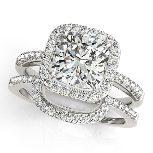 Diamond Engagement Rings - 18K White Gold Halo Engagement Ring - image #3