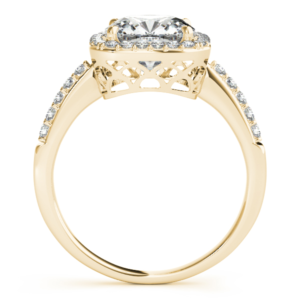Diamond Engagement Rings - 18K Yellow Gold Halo Engagement Ring - image 2