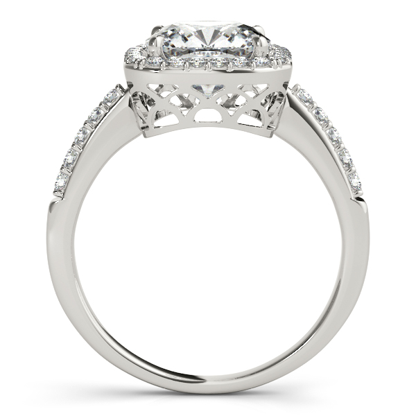 Diamond Engagement Rings - 14K White Gold Halo Engagement Ring - image #2