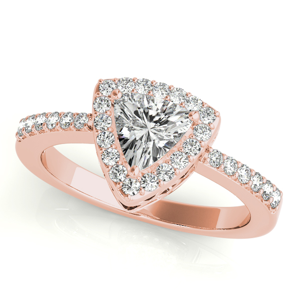 Diamond Engagement Rings - 10K Rose Gold Pear Halo Engagement Ring