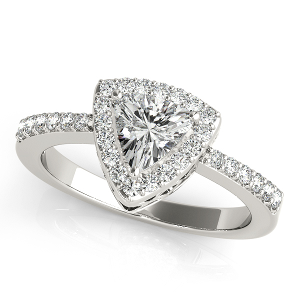 Rings - 10K White Gold Pear Halo Engagement Ring