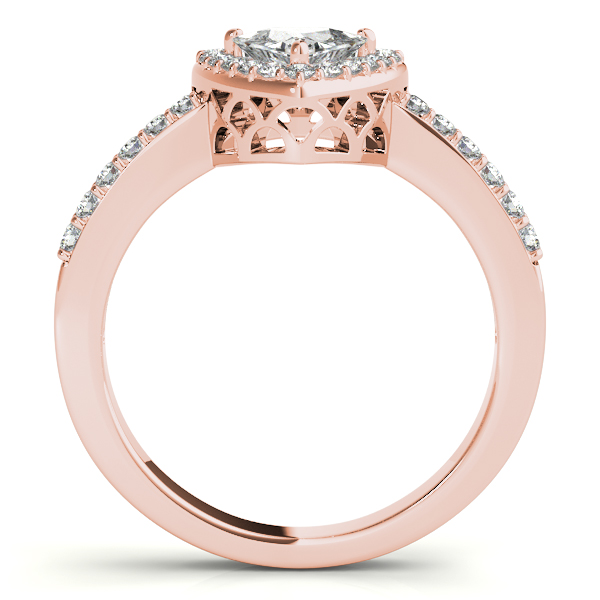 Diamond Engagement Rings - 10K Rose Gold Pear Halo Engagement Ring - image #2