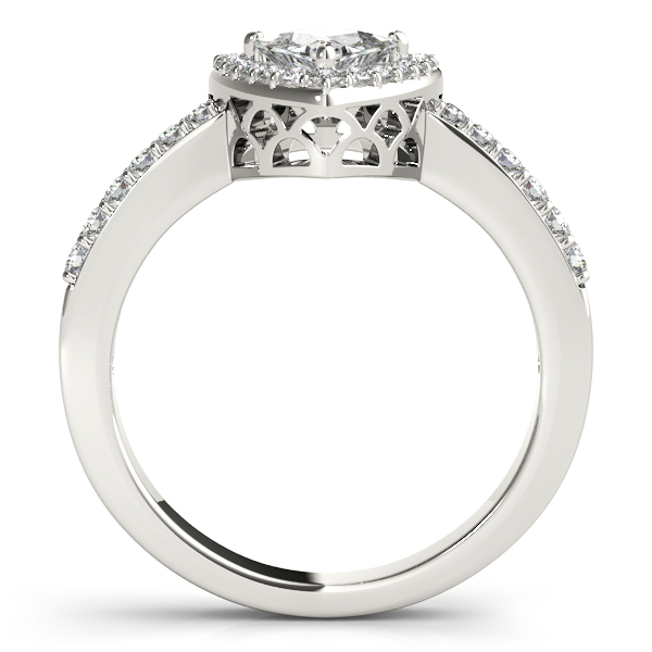 Rings - 10K White Gold Pear Halo Engagement Ring - image #2