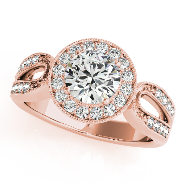 10K Rose Gold Round Halo Engagement Ring - This 10K rose gold round halo engagement ring can accommodate a round diamond shape of 1.00 carats. Includes 32 diamonds weighing 0.32 carats total. Available in 10K, 14K, and 18K white, yellow, or rose gold, and platinum. Center diamond not included. Matching wedding band sold separately.