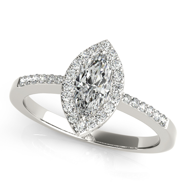 Rings - 18K White Gold Halo Engagement Ring