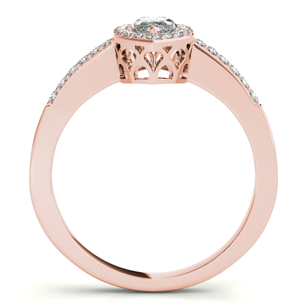 Diamond Engagement Rings - 18K Rose Gold Halo Engagement Ring - image 2