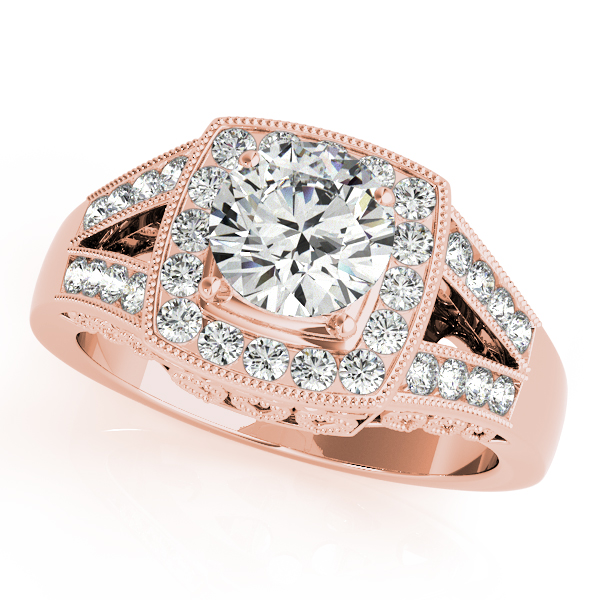 10K Rose Gold Round Halo Engagement Ring - This 10K rose gold round halo engagement ring can accommodate a round diamond shape of 1.25 carats. Includes 32 diamonds weighing 0.32 carats total. Available in 10K, 14K, and 18K white, yellow, or rose gold, and platinum. Center diamond not included. Matching wedding band sold separately.