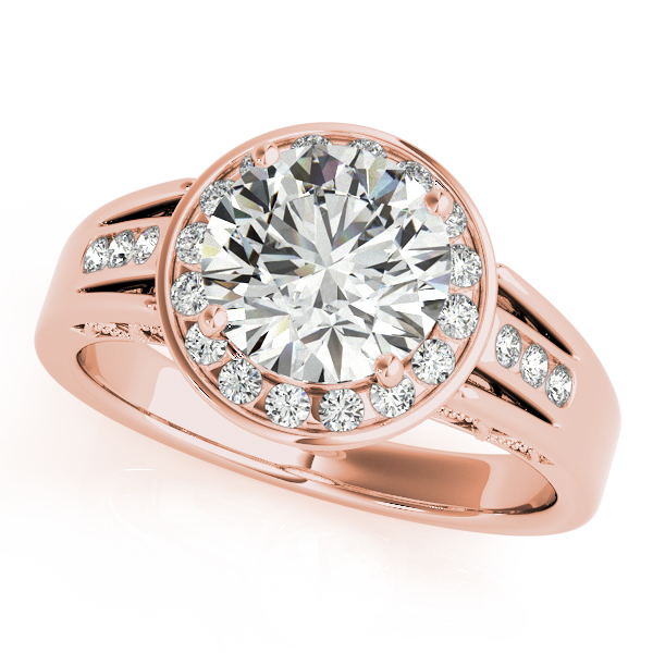 10K Rose Gold Round Halo Engagement Ring - This 10K rose gold round halo engagement ring can accommodate a round diamond shape of 1.90 carats. Includes 22 diamonds weighing 0.17 carats total. Available in 10K, 14K, and 18K white, yellow, or rose gold, and platinum. Center diamond not included. Matching wedding band sold separately.