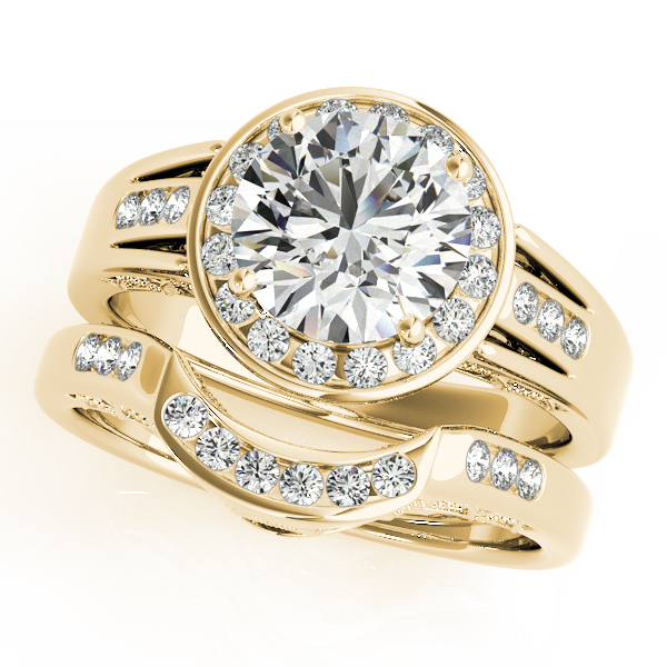 Diamond Engagement Rings - 14K Yellow Gold Round Halo Engagement Ring - image #3