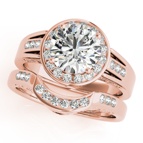 Diamond Engagement Rings - 18K Rose Gold Round Halo Engagement Ring - image #3